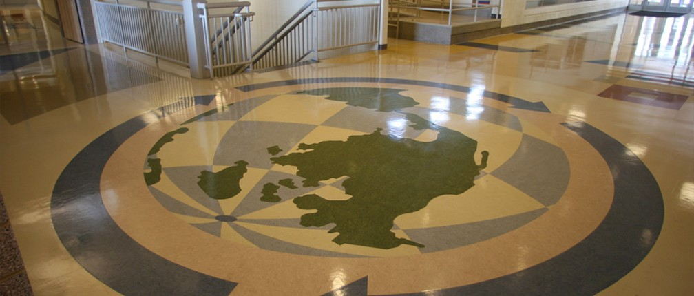 commercial flooring with globe