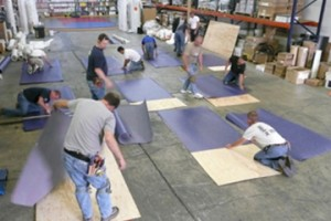 commercial flooring installation in progress