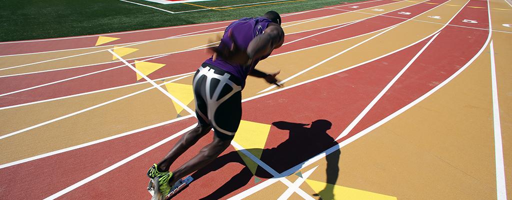 mondo flooring man running on track