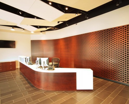 corporate office flooring reception area