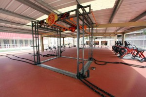 weight room flooring red by mondo flooring