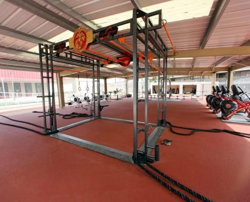 weight room flooring red by mondo flooring